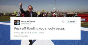 הלאומן אדם מקנרו בתגובה להצהרה של רולינג (צילום מסך: טוויטר)