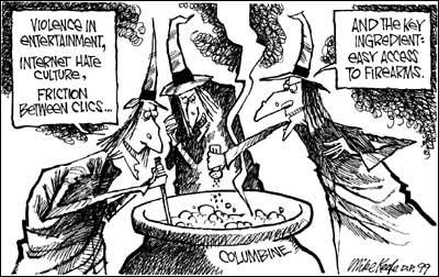 קריקטורה על הטבח בקולומביין (מקור: freepublic)