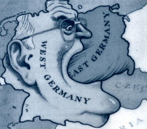 קריקטורה מפורסמת שהופצה על ידי שלטונות מזרח גרמניה כדי להסית נגד המערב