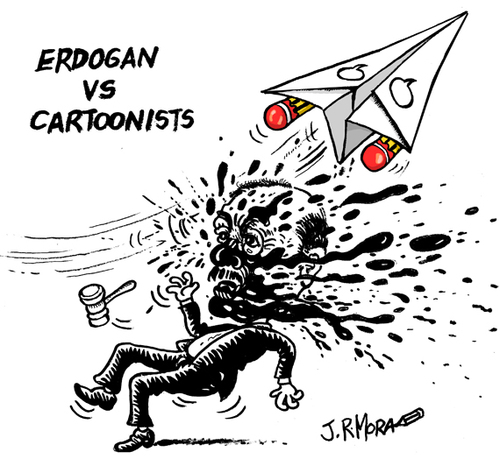הקריקטוריסטית מוסא ג'ארט עומדת לדין בגין הקריקטורה הזאת של הנשיא הטורקי ארדואן (מקור: toonpool)