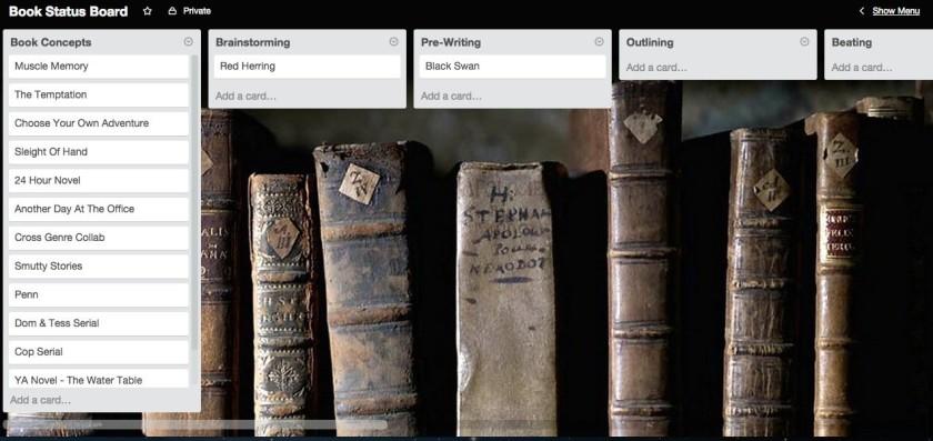 trello board with books
